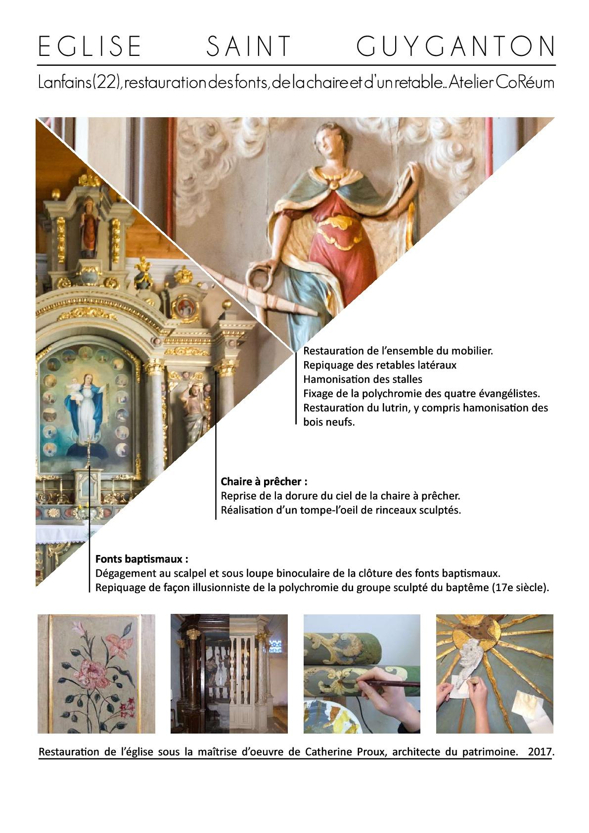 etude prealable restauration patrimoine mobilier objet art cotes armor bretagne coreum polychromie anthemion monument historique