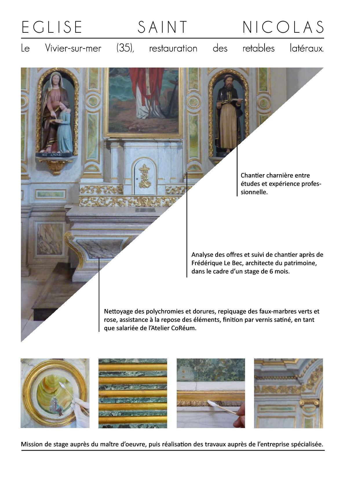 vivier sur mer restauration mobilier retable polychromie bretagne monument conservation objet art